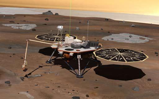 Recreación de la nave 'Phoenix', desplegando sus instrumentos tras aterrizar en Marte. (Foto: NASA)