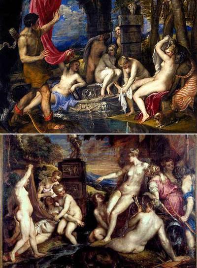 Estas dos obras se exponen en la sede escocesa de la National Gallery. Arriba, Diana y Acteón; a la izquierda, Diana y Calisto, de Tiziano