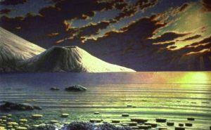 Recreación artística de un paisaje en el pasado remoto de la Tierra.