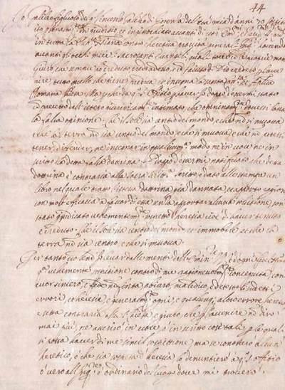 Texto de la abjuración que Galileo pronunció en el convento dominicano de Santa Maria Sopra Minerva el 22 de junio de 1633. / ACCADEMIA DEI LINCEI