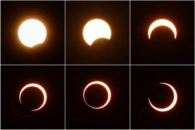 A combination picture shows the sequence of an annular solar eclipse as observed in Suining, Sichuan province January 15, 2010. The longest, ring-like solar eclipse of the millennium started on Friday, with astronomers saying the Maldives was the best place to view the phenomenon that will not happen again for over 1,000 years. REUTERS/Stringer (CHINA - Tags: ENVIRONMENT SOCIETY) CHINA OUT. NO COMMERCIAL OR EDITORIAL SALES IN CHINA