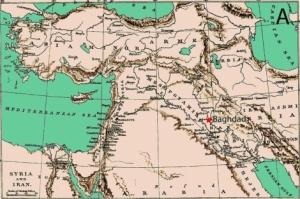Mapa histórico de Medio Oriente que señala la ciudad de Bagdad (Iraq). | Domínguez-Castro
