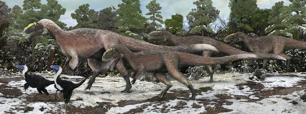 Recreación artística de un grupo de Yutyrannus, el mayor saurio con plumas conocido hasta la fecha Brian Choo - EFE