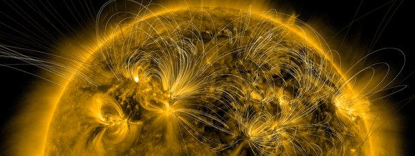 Imagen que muestra líneas de campo magnético del Sol GYI