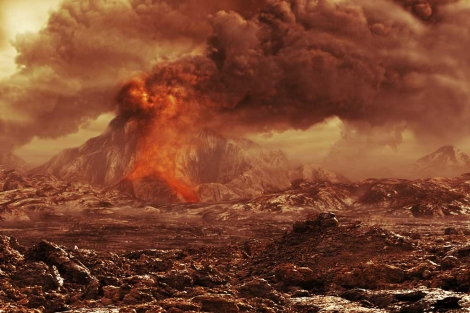 Recreación artística de un volcán en erupción en Venus. | ESA/AOES