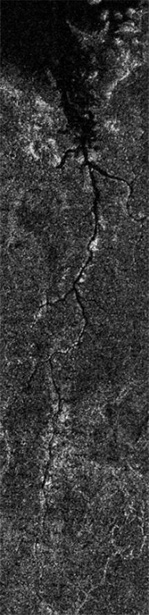 Imagen del valle fluvial captada por la sonda Cassini, | ESA