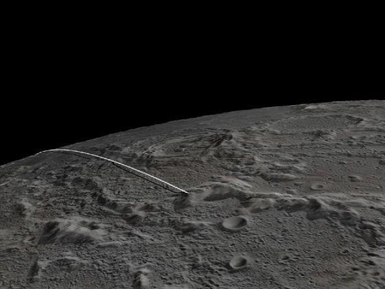 Trayectoria final de los robots gemelos de la misión Grail hasta chochar contra una montaña de la Luna. / NASA/JPL-Caltech/GSFC/ASU