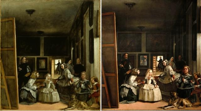 A la izquierda, Las Meninas del Kingston Lacy (Dorset) y a la derecha, Las Meninas del Museo del Prado- (FUNDACIÓN JUAN DE GOYENECHE)