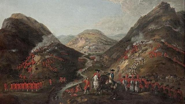 NGS Cuadro de la batalla de Glenshiel, combate que puso fin a la expedición de los 307 infantes españoles