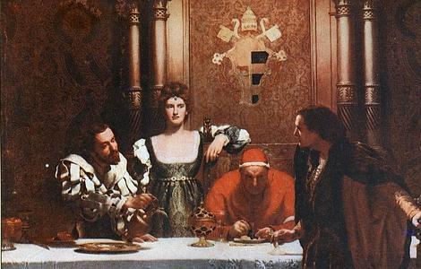 ABC Cuadro «Un vaso de vino con César Borgia», de John Collier