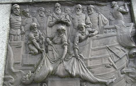 Wikipedia | Placa de bronce en Tavistock que reproduce la muerte de Drake en Portobelo