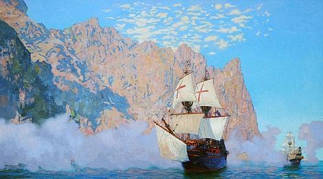 Wikipedia | Ilustración del «El Pelican», el barco que usó Drake para dar la vuelta al mundo