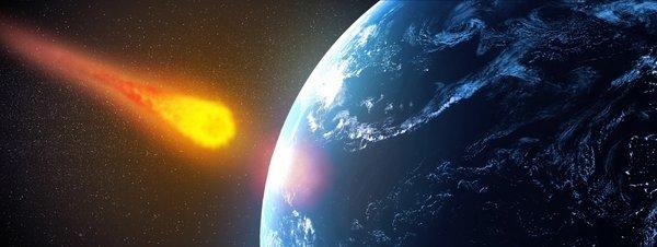 Recreación de un asteroide dirigiéndose hacia la Tierra GYI