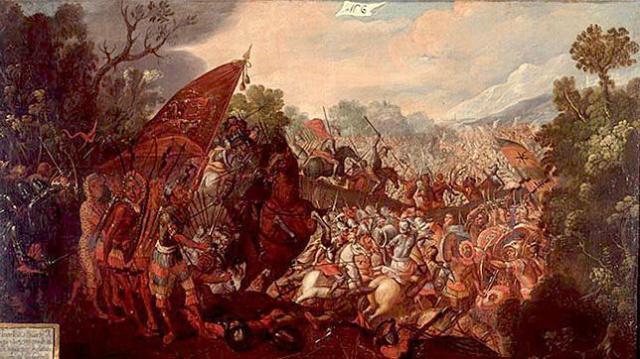 Wikipedia Batalla de Otumba. Óleo del siglo XVII