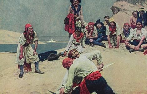 wIKIPEDIA Ilustración que muestra a unos piratas luchando por un tesoro