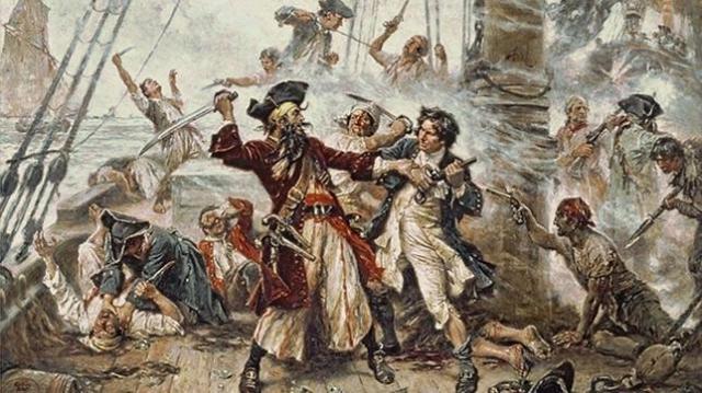 Barbanegra se enfrenta a Lt. Maynard en el auge de la Edad dorada de la piratería