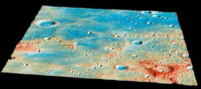 Detalle de la zona en la que impactará la sonda 'Messenger' NASA