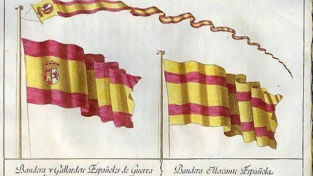museo naval Banderas del buque de guerra y de los mercantes elegidas por Carlos III en 1785