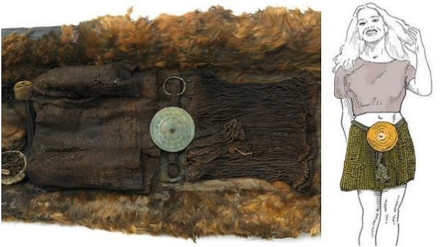 Museo Nacional Dinamarca / Eigenes Wirk Restos de ropas de la muchacha, en el Museo de Copenhage y una reconstrucción de su aspecto