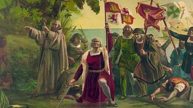 ABC Pintura de la llegada de Cristóbal Colón a América en 1492