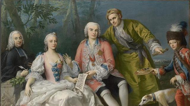 ABC Pintura coral de Farinelli (en el centro) junto a varios de sus colaboradores, como el poeta Pietro Metastasio (izquierda)
