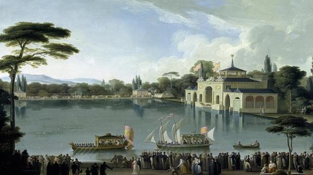 abc «Embarque Real en el estanque grande del Retiro», óleo de José Ribelles, en el Museo del Prado