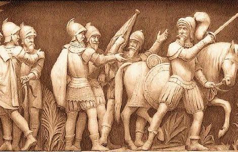 Archivo del Capitolio de EE.UU. Detalle de la llegada de Pizarro a Perú