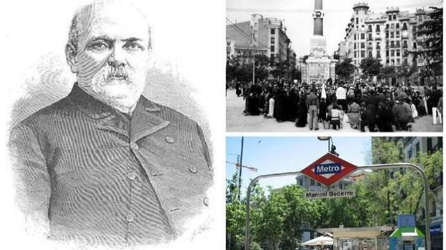 abc Manuel Becerra; la plaza con el obelisco de la fuente Castellana en 1914; y la boca de metro actual