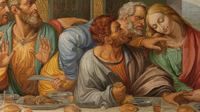 wikimedia Judas derrama la sal con el brazo en el mosaico copiado por Giacomo Raffaelli de «La Última Cena» de Leonardo da Vinci