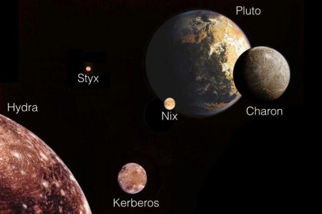 Ilustración de Plutón y sus cinco lunas. NASA/M. SHOWALTER