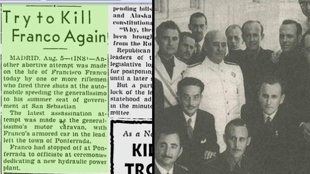 Milwaukee Sentinel A la izquierda, el relato de los hechos en el Milwaukee Sentinel del 6 de agosto de 1949; a la derecha, Francisco Franco durante el acto al que había asistido previamente