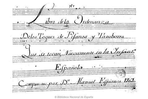 Portada del «Libro de la Ordenanza de los toques de pífanos y tambores que se tocan nuevamente en la Infantería española» Biblioteca Nacional de España