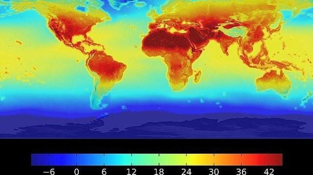 nasa Los zona en rojo intenso son las que superarán los 42 grados de temperatura