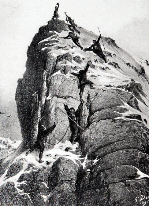 Grabado de la primera ascensión al Matterhorn, en Los Alpes. MUNDO