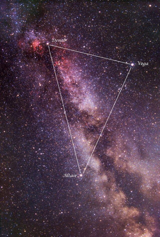 Las tres estrellas del Triángulo de Verano sobre una imagen de Vicent Peris. / Banco de Imágenes del Instituto de Astrofísica de Canarias (IAC).