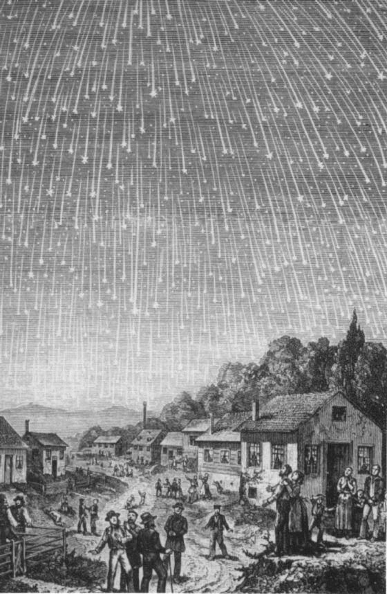 Grabado de 1833 que muestra una lluvia de estrellas sobre Gettysburg (EE UU).