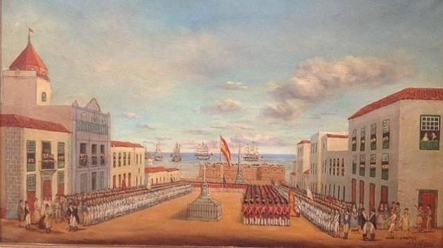 m. turner Pintura al óleo que retrata la capitulación de los ingleses en Tenerife