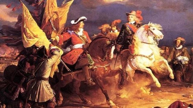ABC Felipe V y el Duque de Vendôme durante la batalla de Villaviciosa, por Jean Alaux