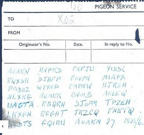 Fragmento del mensaje en clave encontrado junto al cadáver de la paloma mensajera (Bletchey Park)