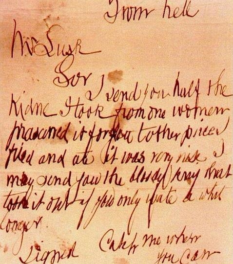 Imagen de la carta «From Hell» (WIKIMEDIA)