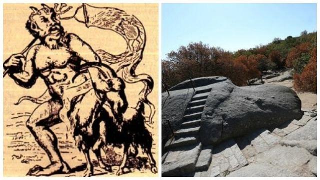 abc Ilustración del Diablo junto a la silla de Felipe II, cerca del lugar en el que supuestamente el Mal dejó su huella