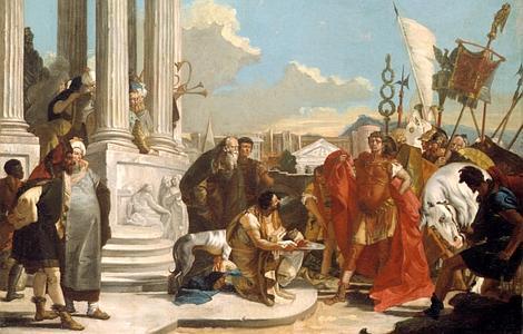 ABC Representación pictórica de los emisarios egipcios presentando la cabeza de Pompeyo a Julio César
