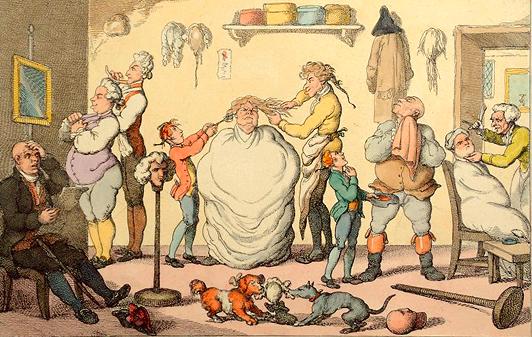 Barbería- peluquería en el siglo XVIII