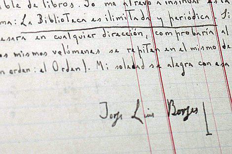 Caligrafía de Jorge Luis Borges.