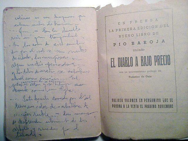 Caligrafía de Pío Baroja.