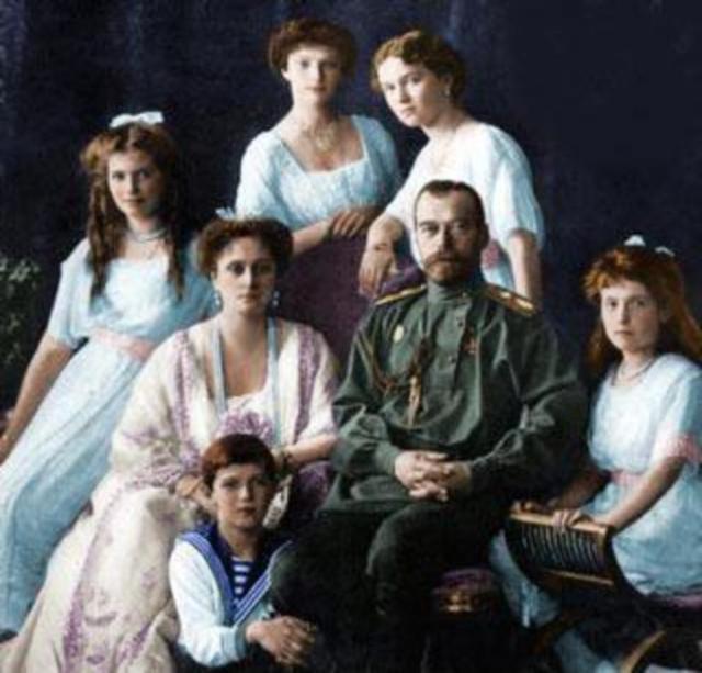 Retrato de la familia del zar Nicolás II.