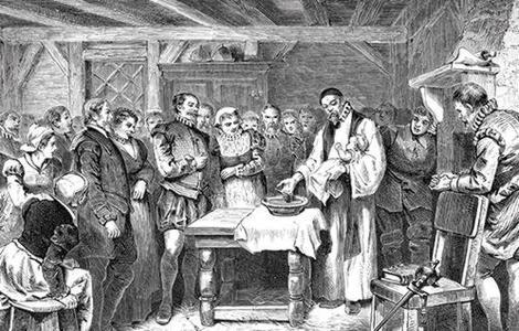 wikipedia Bautizo de una de las niñas nacidas en la colonia de Roanoke