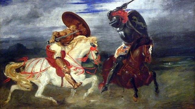 WiKIMEDIA Dos caballeros con armadura completa se enfrentan a lomos de sus monturas