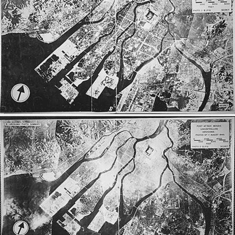Fotografías aéreas de Hiroshima, antes (arriba) y después (abajo) de la explosión (EFE)