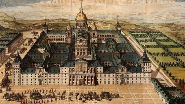 abc Pintura de la época de la construcción del Monasterio de El Escorial, desde su fachada principal